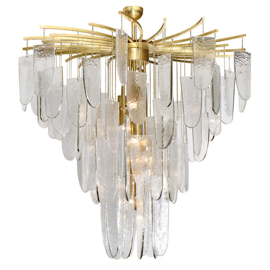 Textured Murano Glass Chandelier with Silver Leaf Edges