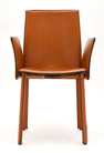 Vintage Modernist Orange Leather Armchairs