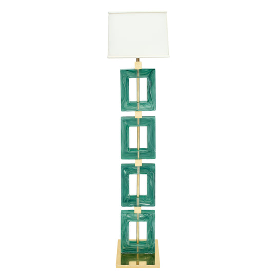 Jade Green Murano Glass and Brass Floor Lamp