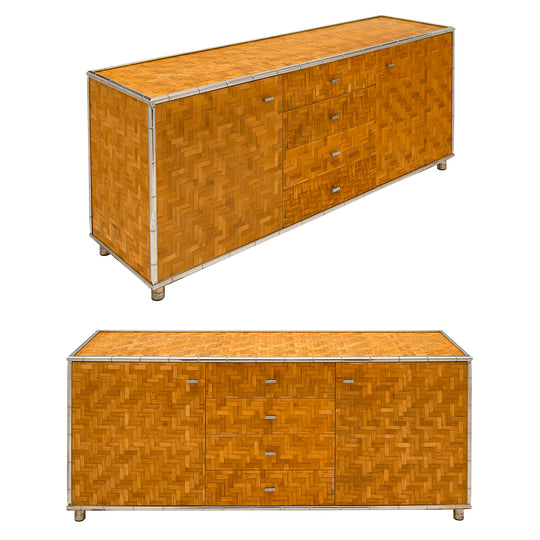Pair of Bamboo Modernist French Buffets