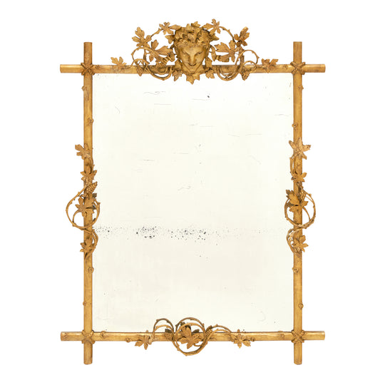 Antique French Mirror with Bacchus Fronton