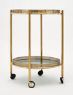 Vintage French Brass Bar Cart with Tray