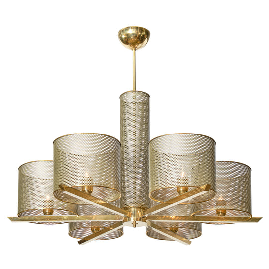 French Perforated Brass Chandelier in the style of Mategot