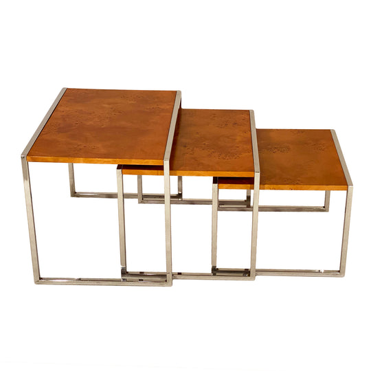 Burled Wood Nesting Tables