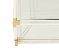 Lucite and Brass Large Square Coffee Table