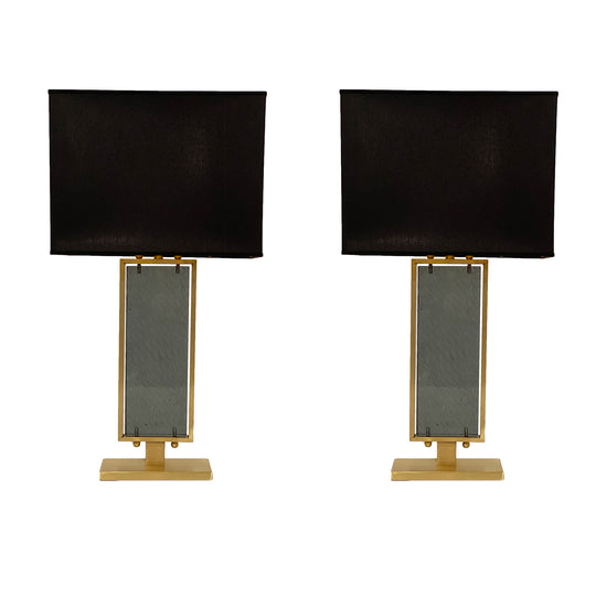 Gray Hued Murano Glass and Brass Table Lamps
