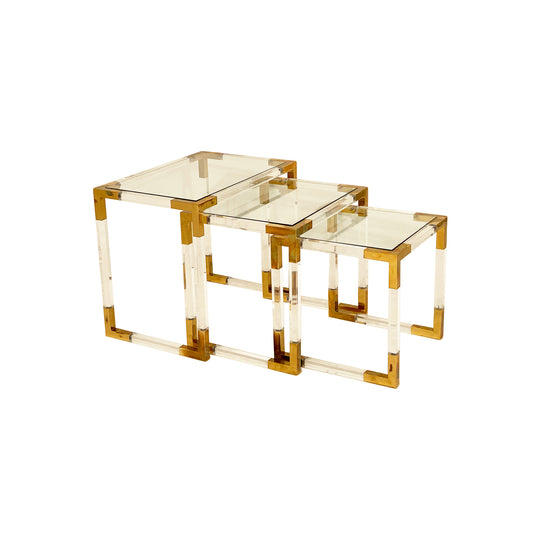 Brass and Lucite Vintage Nesting Tables