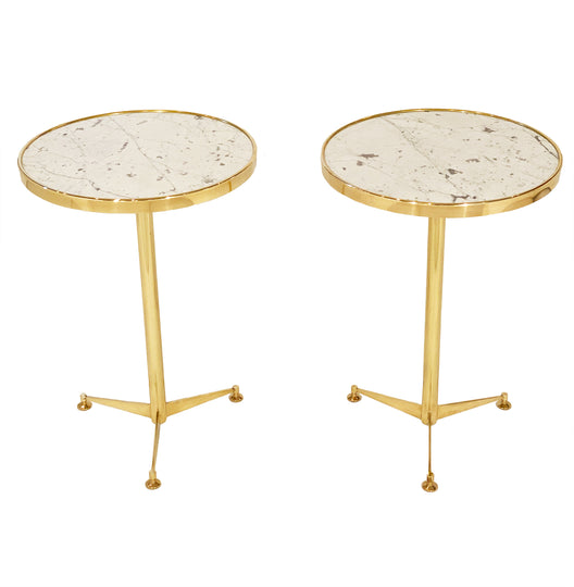 French Brass Side Tables with Marble Tops