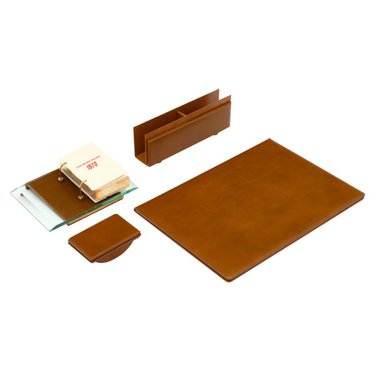 Four Piece 1970's Italian Leather Desk Set