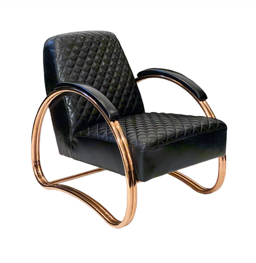 German Modernist Leather and Copper Armchair