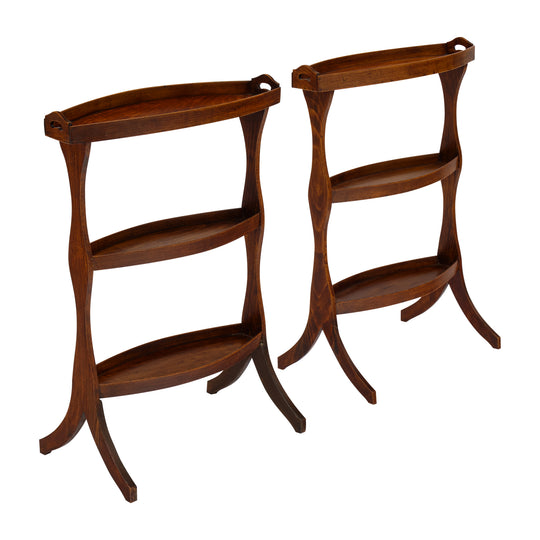 French Vintage Walnut Side Tables