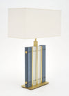 "Murano Glass Blue ""Tormalina"" Slab Lamps"