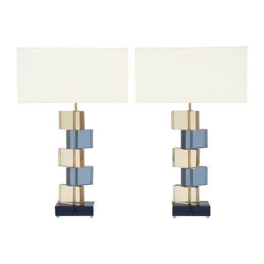 Amber and Blue Murano Glass Geometric Lamps