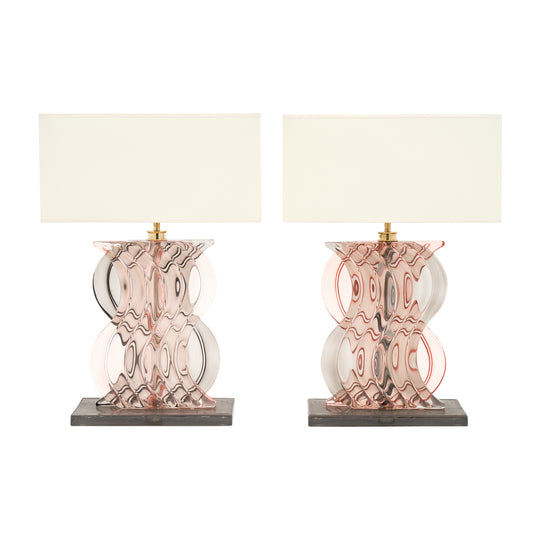 Murano Glass Ridged Pink and Gray Lamps