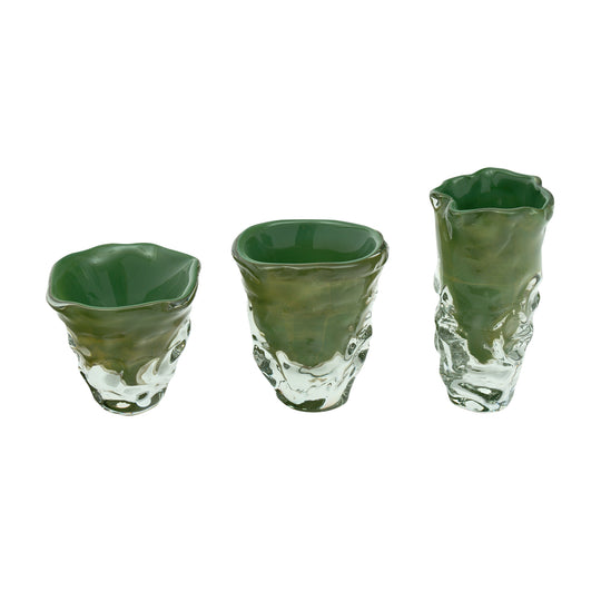 "Trio of ""Martellato"" Murano Glass Vases"