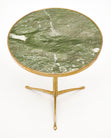 Italian Brass and Green Marble Side Tables