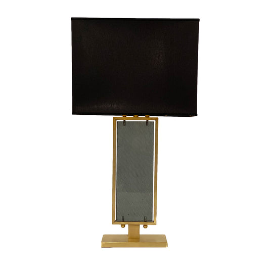 Gray Hued Murano Glass and Brass Table Lamp