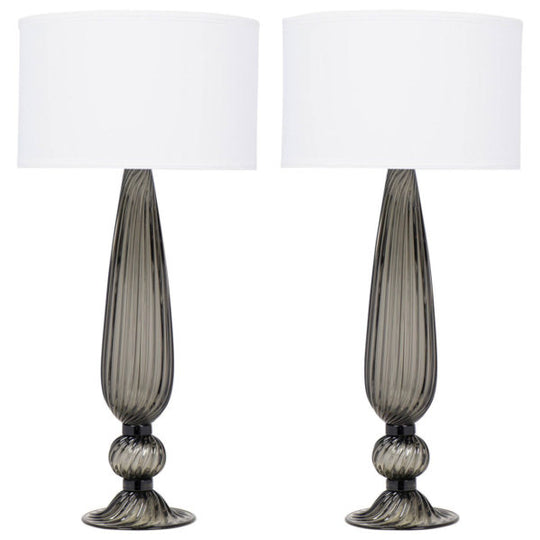 Pair of Murano Acciaio Blown Glass Lamps
