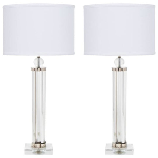 Modernist Murano Glass Tube and Chrome Lamps