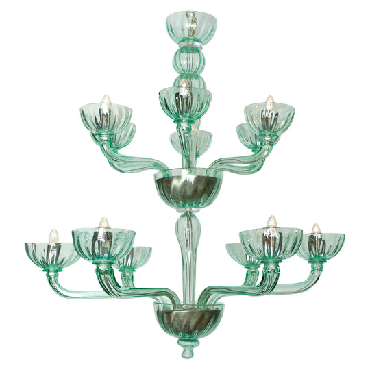 Murano Glass Mint Two-Tiered Chandelier