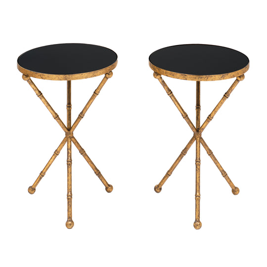 Pair of Gold Bamboo Tripod Tables