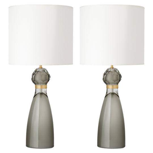 Murano Gray Glass Table Lamps