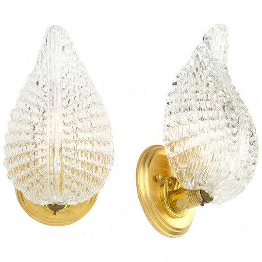 Murano Glass Leaf Brass Wall Sconces