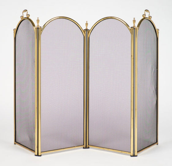 Vintage French Neoclassical Brass Fire Screen