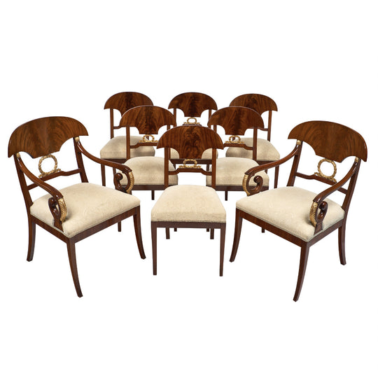 Swedish Antique Set of Flamed Dining Chairs