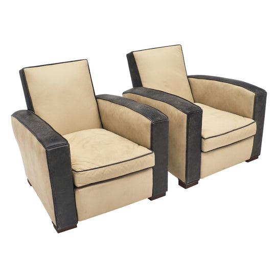 Art Deco Two-Toned Leather Club Chairs