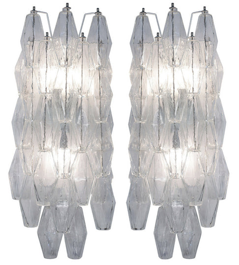 Pair of Polyhedral Murano Glass Sconces