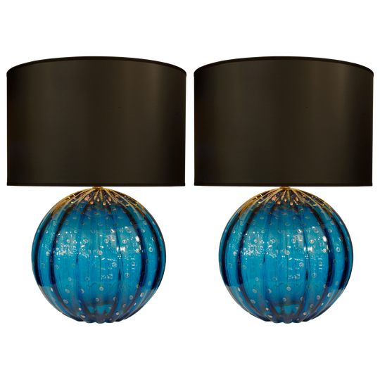 Pair of Cerulean Murano Glass Globe Lamps