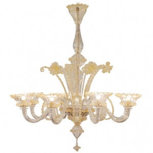 Murano Crystal & Amber Glass Chandelier