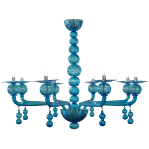 Aquamarine Murano Glass Chandelier by Barbini