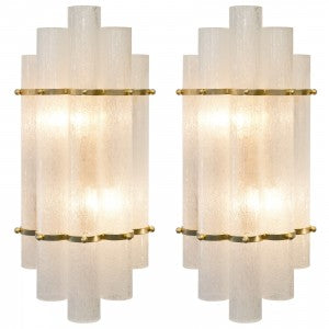 Art Deco Style Murano Glass & Brass Sconces