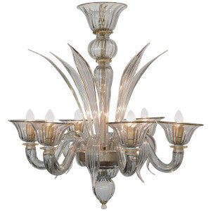 Murano Gray Avventurina Glass Chandelier
