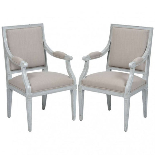 Pair French Louis XVI Gray Linen Armchairs