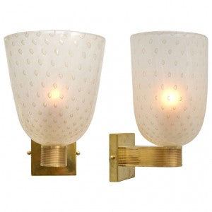 Gold-Flecked Murano Pulegoso Glass Sconces