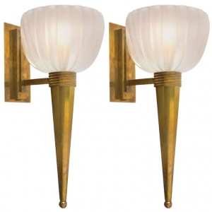 Pair of Murano Glass Torchère Sconces