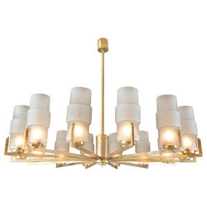Vintage Brass and Glass Modernist Chandelier