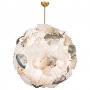 Mercury, Opaline and Pulegoso Glass Chandelier
