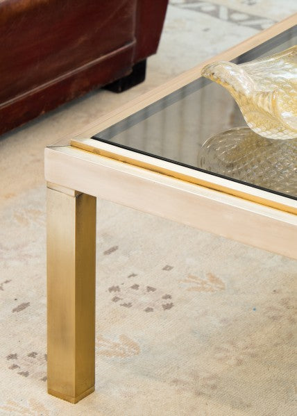 Vintage Modernist Solid Brass Coffee Table Jean Marc Fray French