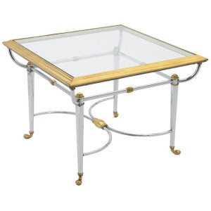 Jansen Style Chrome and Brass Side Table