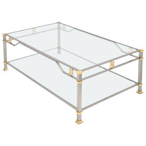 Vintage Steel and Gilt Brass Coffee Table