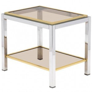 Vintage Midcentury Chrome and Brass Side Table