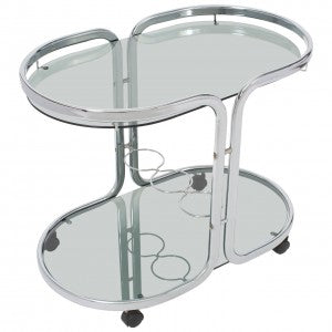 Oval Polished Chrome Bar Cart