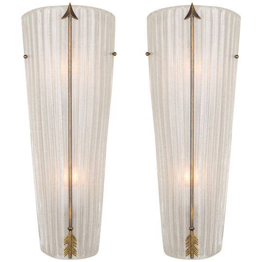 Murano Glass Sconces with Brass Arrows