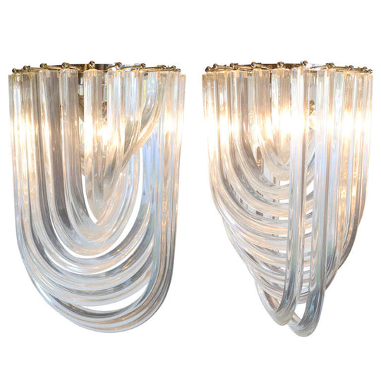 Pair of Murano Glass Curve Chandeliers