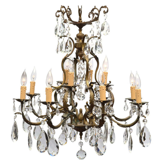 Antique Louis XIV Bronze & Crystal Chandelier