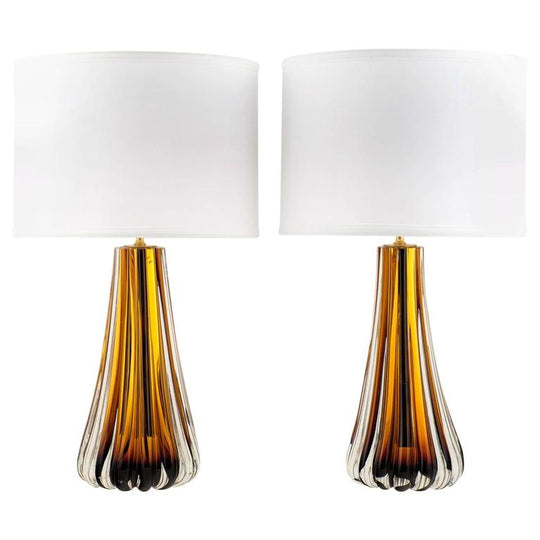 Murano Amber Glass Table Lamps - On Hold